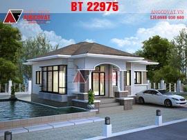 Biệt thự 1 tầng 3 phòng ngủ phong cách châu âu diện tích 100m2 mái thái BT22975