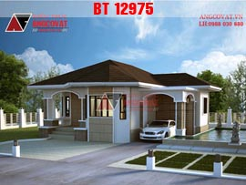 Biệt thự 1 tầng phong cách châu âu 3 phòng ngủ 10x12m kinh phí 750 triệu BT12975