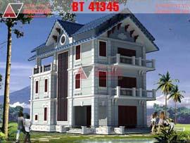 Thiết kế nhà 3 tầng đẹp diện tích 9x16m mặt tiền 9m BT41345