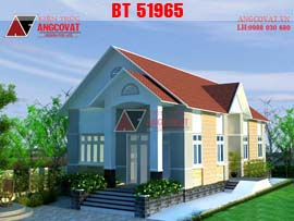 Mẫu thiết kế nhà 1 tầng có 3 phòng ngủ mặt tiền 8m mái thái diện tích 160m2 BT51965