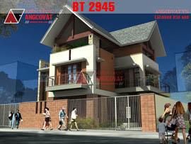 Mẫu biệt thự 3 tầng đơn giản mặt tiền 10m diện tích 160m2 5 phòng ngủ  BT2945