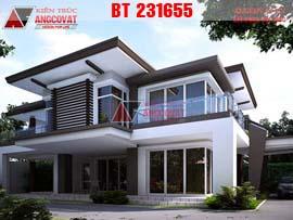 Thiết kế nhà ở 2 tầng 15x8m diện tích 120m2 mái bằng BT231655