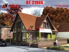 Thiết kế nhà 1 tầng có gác lửng 3 phòng ngủ kích thước 11x11m kinh phí 850 triệu BT21965