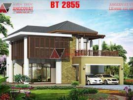 Thiết kế biệt thự nhà vườn 2 tầng 3 mặt tiền hiện đại 4 phòng ngủ BT2855